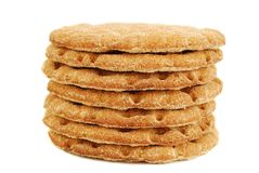 Slices of crispbread isolated on white Royalty Free Stock Image