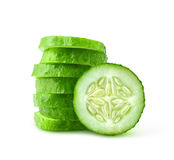 Slices of cucumber. Cucumber slices isolated on white royalty free stock photos