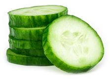 Slices of cucumber isolated on white background.  Royalty Free Stock Photo