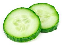 Slices of cucumber isolated on white background.  Stock Images