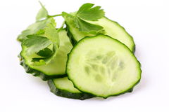 slices of cucumber on white background Royalty Free Stock Photos