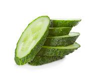 Slices cucumber on white Royalty Free Stock Photos