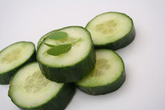 Slices of cucumbers. Some fresh slices of cucumbers Royalty Free Stock Images