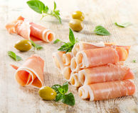 Slices of cured ham Royalty Free Stock Images
