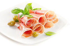Slices of cured ham Royalty Free Stock Photos