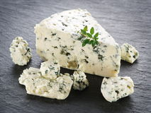 Slices of Danish Blue cheese. Royalty Free Stock Image