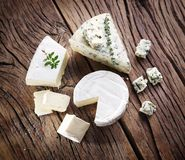 Slices of Danish Blue cheese. Stock Image