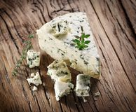 Slices of Danish Blue cheese. Royalty Free Stock Photography