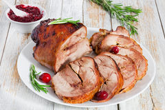 Slices of delicious barbecue in oven turkey roulade Royalty Free Stock Images