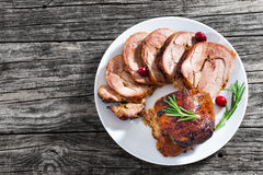 Slices of delicious barbecue turkey roulade with cranberry Royalty Free Stock Photos