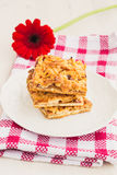 Slices of delicious fresh baked  apple cake on a wooden surface Royalty Free Stock Image