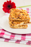 Slices of delicious fresh baked  apple cake on a wooden surface Stock Photos