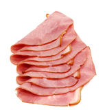Slices of delicious ham. Isolated on white background Stock Photography
