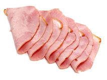 Slices of delicious ham. Isolated on white background Stock Photo