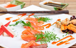 Slices of delicious salmon Stock Photos