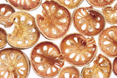 Slices of dried bael fruit Stock Image