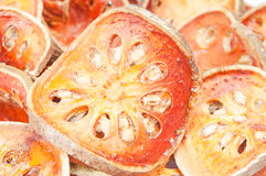 Slices of dried bael fruit Stock Photography
