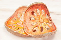 Slices of dried bael fruit Royalty Free Stock Photos