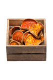 Slices Of Dried Bael Fruit With Wooden Box. Stock Photography