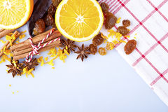 Slices of dried Orange with cinnamon clove and anise Stock Images