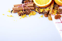 Slices of dried Orange with cinnamon clove and anise Stock Photo