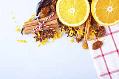 Slices of dried Orange with cinnamon clove and anise Royalty Free Stock Photos