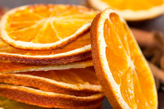 Slices of dried orange, cinnamon and star anise Royalty Free Stock Image