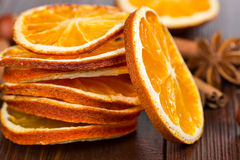 Slices of dried orange, cinnamon and star anise Stock Image