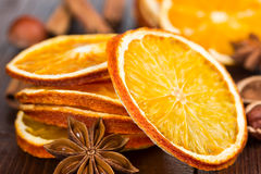 Slices of dried orange, cinnamon and star anise Royalty Free Stock Photos