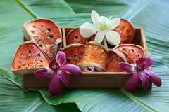 Slices of dry Bael fruit in wooden box. Royalty Free Stock Images