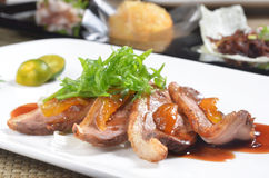 Slices of duck fried meat Royalty Free Stock Photos