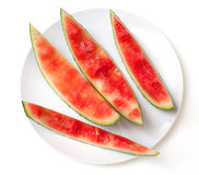 Slices of eaten watermelon Royalty Free Stock Image