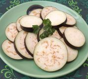Slices of eggplants Stock Photos