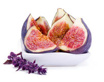 Slices of  fig and basil flower Stock Images
