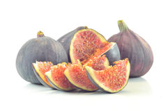 Slices of fig on a white background Royalty Free Stock Photos