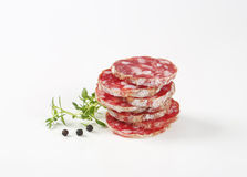 Slices of french salami Stock Photography