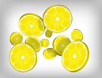 Slices of fresh citric lemon falling and flying Royalty Free Stock Image