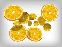 Slices of fresh citrus orange falling and flying Stock Photos