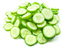 Slices of fresh cucumber. Slices of fresh green cucumber isolated on white background stock photography