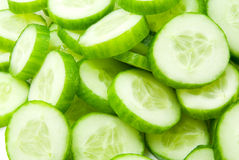 Slices of fresh cucumber. Slices of fresh green cucumber stock images