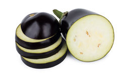 Slices of fresh eggplant isolated on white Stock Images
