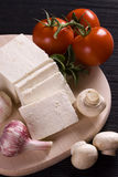 Slices of fresh feta cheese Royalty Free Stock Images