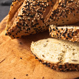 Slices of fresh homemade baguette Royalty Free Stock Images
