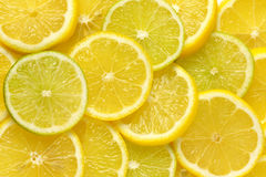 Slices of fresh lemon and lime royalty free stock images