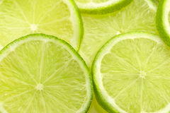 Slices of fresh lime. Close up of slices of fresh lime royalty free stock photos