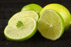 Slices of Fresh Limes royalty free stock image