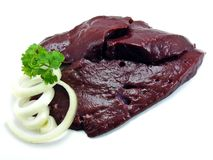 Slices of fresh liver & onions Royalty Free Stock Photography