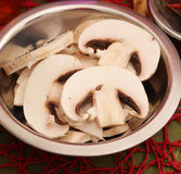 Slices of fresh mushrooms Royalty Free Stock Photos