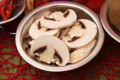 Slices of fresh mushrooms. Some slices of fresh mushrooms Stock Images