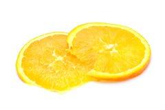 Slices of fresh orange. Two slices of fresh orange fruit isolated on white background Stock Images